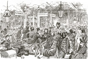Waterloo Station. Drawing from Punch.