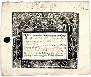 Invitation to a funeral 1712.