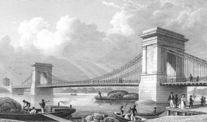 1st Hammersmith Bridge designed by William Tierney Clark in 1827, Hammersmith
