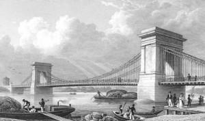 1st Hammersmith Bridge designed by William Tierney Clark in 1827, Hammersmith
