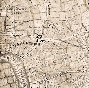 Map of early Hammersmith c 1746
