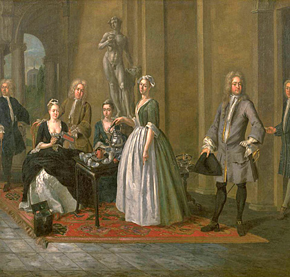 An English Family at Tea circa 1720 by Joseph Van Aken circa 1699-1749